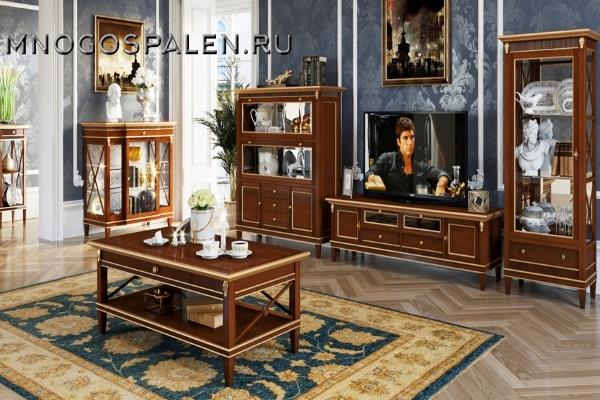 ГОСТИНАЯ VERONA, ЦВЕТ ОРЕХ С ЗОЛОТОМ купить в салоне-студии мебели Барселона mnogospalen.ru много спален мебель Италии классические современные