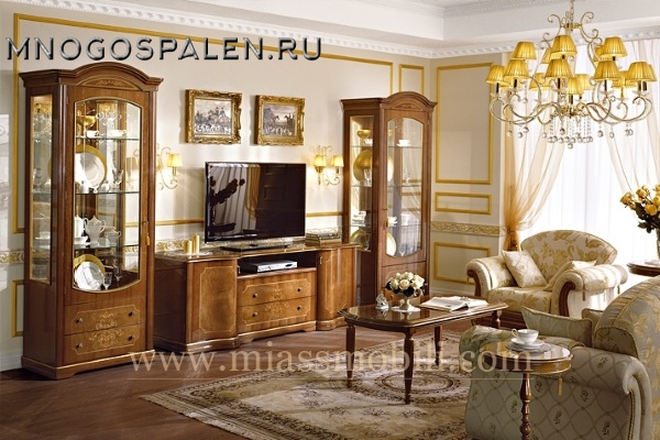 Гостиная Floriana орех MiassMobili купить в салоне-студии мебели Барселона mnogospalen.ru много спален мебель Италии классические современные