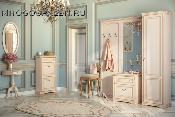 Прихожая JOCONDA крем MIASSMOBILI купить в салоне-студии мебели Барселона mnogospalen.ru много спален мебель Италии классические современные