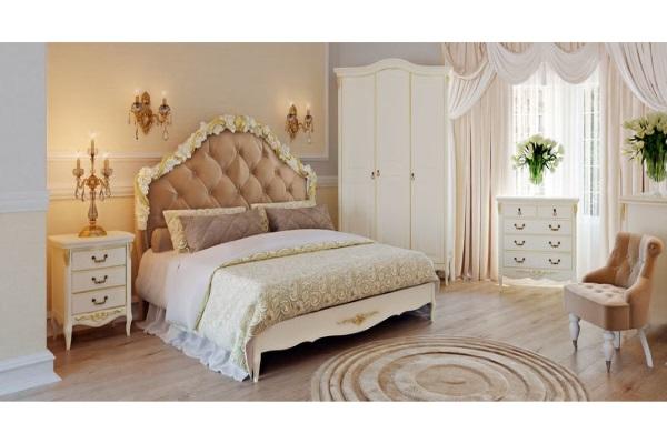 КРОВАТЬ С МЯГКИМ ИЗГОЛОВЬЕМ Romantic Gold купить в салоне-студии мебели Барселона mnogospalen.ru много спален мебель Италии классические современные