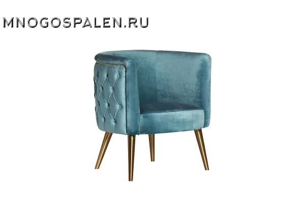 Кресло велюровое бирюзовое на металлических ножках 48MY-2533 TUR GLD купить в салоне-студии мебели Барселона mnogospalen.ru много спален мебель Италии классические современные