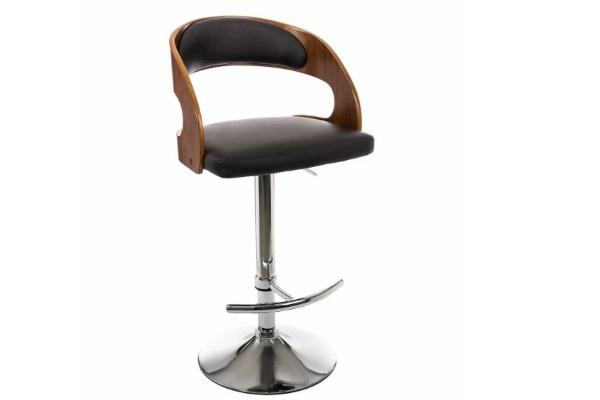 Стул барный BCR-402 walnut wood / black PU купить в салоне-студии мебели Барселона mnogospalen.ru много спален мебель Италии классические современные