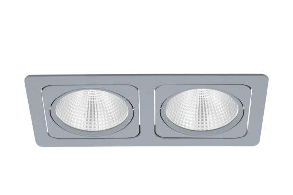 61673 Светодиодный встраиваемый спот VASCELLO G, 2x19W(LED), 2700K, серебряный купить в салоне-студии мебели Барселона mnogospalen.ru много спален мебель Италии классические современные